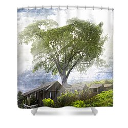 High In The Clouds Shower Curtain by Debra and Dave Vanderlaan