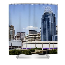 High Resolution Photo Of Cincinnati Skyline Shower Curtain by Paul Velgos