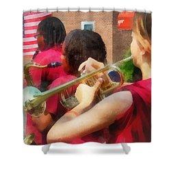 High School Band At Parade Shower Curtain by Susan Savad