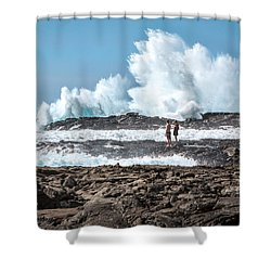 In Over Their Heads Shower Curtain by Denise Bird