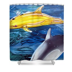 Shower Curtain featuring the painting High Tech Dolphins by Thomas J Herring