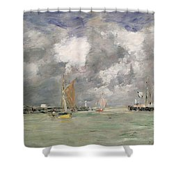 High Tide At Trouville Shower Curtain by Eugene Louis Boudin