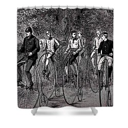 High Wheeled Victorian Bicyclers Shower Curtain by Peter Gumaer Ogden