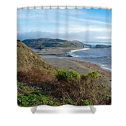 Highway 1 Near Outlet Of Russian River Into Pacific Ocean Near Jenner-ca  Shower Curtain