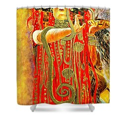 Shower Curtain featuring the painting Higieja-according To Gustaw Klimt by Henryk Gorecki