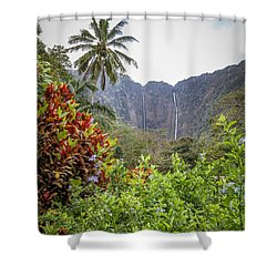 Hiilawe And Hakalaoa Falls Shower Curtain