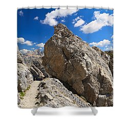 hike in Dolomites Shower Curtain by Antonio Scarpi