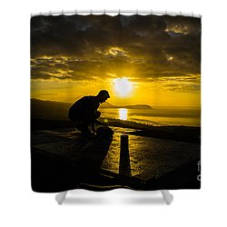Shower Curtain featuring the photograph Hiker @ Diamondhead by Angela DeFrias