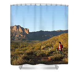 Hiker Standing On A Hill, Phoenix Shower Curtain by Panoramic Images