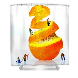 Hikers Climbing Orange Mountain Shower Curtain by Paul Ge