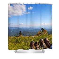 Hikers With A View On Round Bald Near Roan Mountain Shower Curtain by Melinda Fawver