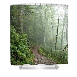 Hiking In The Clouds Shower Curtain by Debbie Green