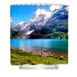 Hiking Switzerland Shower Curtain by Anna Porter