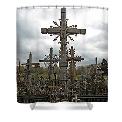 Hill Of Crosses 06. Lithuania.  Shower Curtain by Ausra Huntington nee Paulauskaite