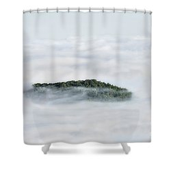 Hill Top Island In The Clouds Shower Curtain by Dan Friend