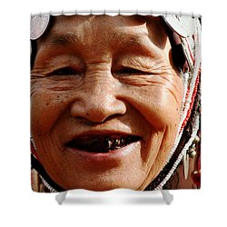 Hill Tribe Smile Shower Curtain by Nola Lee Kelsey