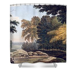 Hill Village In The District Of Bauhelepoor Shower Curtain by William Hodges