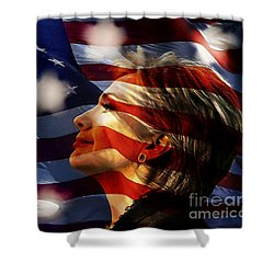 Shower Curtain featuring the mixed media Hillary 2016 by Marvin Blaine