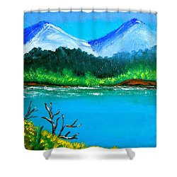 Hills By The Lake Shower Curtain