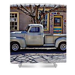 Shower Curtain featuring the painting Hillsboro New Mexico 1949 Gmc 100 by Barbara Chichester
