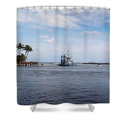 Hillsboro Inlet Lighthouse Panorama Shower Curtain by Lynn Palmer