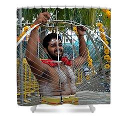 Shower Curtain featuring the photograph Hindu Thaipusam Festival Pierced Devotee  by Imran Ahmed