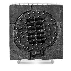Hinged Manhole Cover Shower Curtain by Lynn Palmer
