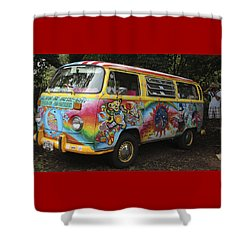 Vintage 1960's Vw Hippie Bus Shower Curtain by Venetia Featherstone-Witty