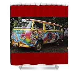 Vintage 1960's Vw Hippie Bus, Hawaii Shower Curtain