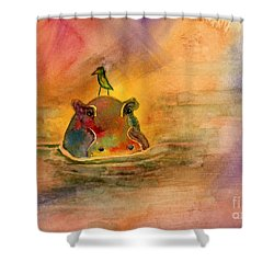 Hippo Birdie Shower Curtain by Amy Kirkpatrick