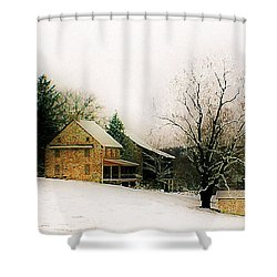 Shower Curtain featuring the photograph Historic 1700's Farmhouse by Polly Peacock