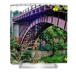 Shower Curtain featuring the photograph Historic Ausable Chasm Bridge by Patti Whitten