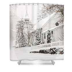Shower Curtain featuring the photograph Historic Church In Oella Maryland During A Blizzard by Vizual Studio