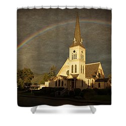 Historic Methodist Church In Rainbow Light Shower Curtain by Mick Anderson