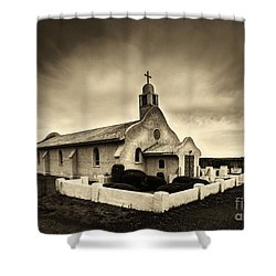 Historic Old Adobe Spanish Style Catholic Church San Ysidro New Mexico Shower Curtain by Jerry Cowart