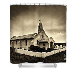 Historic Old Adobe Spanish Style Catholic Church San Ysidro New Mexico Shower Curtain