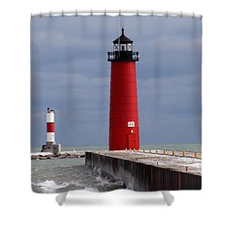Shower Curtain featuring the photograph Historic Pierhead Lighthouse by Kay Novy