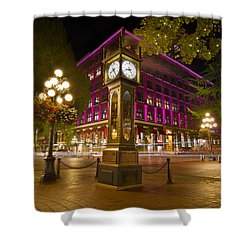Shower Curtain featuring the photograph Historic Steam Clock In Gastown Vancouver Bc by JPLDesigns