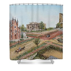 Shower Curtain featuring the painting Historic Street - Lawrence Ks by Mary Ellen Anderson