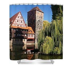 historic winestorage and executioner bridge in Nuremberg Shower Curtain by Rudi Prott