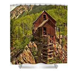 History In The Mountains Shower Curtain by Adam Jewell