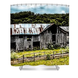 History Left Behind  Old Barn Shower Curtain by Peggy Franz