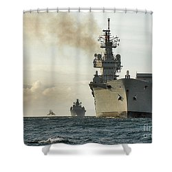 Hms Ark Royal  Shower Curtain by Paul Fearn
