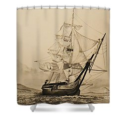 Hms Surprise Shower Curtain by John Huntsman