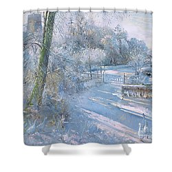 Hoar Frost Morning Shower Curtain by Timothy  Easton