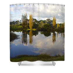 Autumn At Hobbiton Lake New Zealand Shower Curtain by Venetia Featherstone-Witty