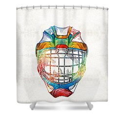 Hockey Art - Goalie Mask Patent - Sharon Cummings Shower Curtain by Sharon Cummings