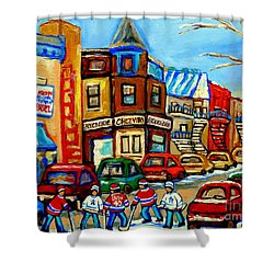 Hockey Art Montreal Winter Street Scene Painting Chez Vito Boucherie And Fairmount Bagel Shower Curtain by Carole Spandau