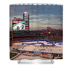 Hockey At The Ballpark Shower Curtain by David Rucker