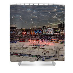 Hockey At Yankee Stadium Shower Curtain by David Rucker